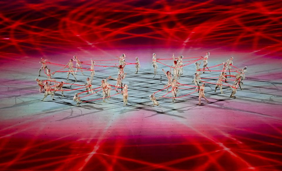 Tokyo , Japan - 23 July 2021; Performers dancing during the light show, of the 2020 Tokyo Summer Olympic...