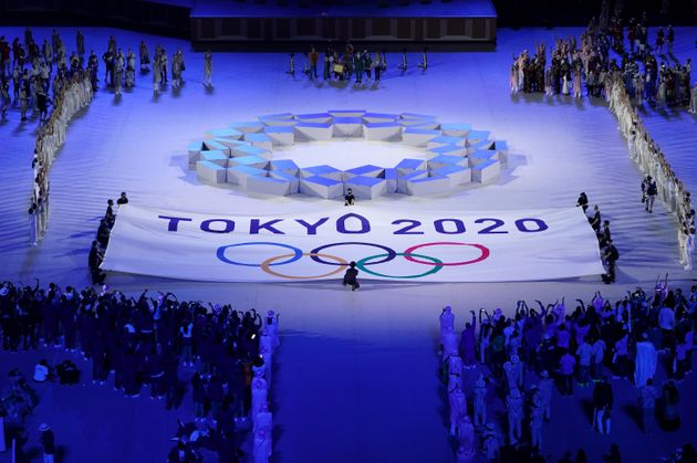 The Olympic teams from every country watch performers on stage during the opening ceremony of the Tokyo 2020 Olympic Games at the Olympic Stadium in Japan. Picture date: Friday July 23, 2021. (Photo by Mike Egerton/PA Images via Getty Images)