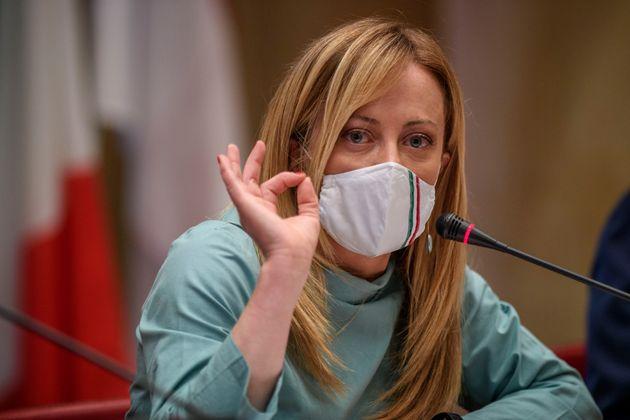 ROME, ITALY - JUNE 11: Giorgia Meloni (Fratelli d'Italia leader) attends the press conference to present...