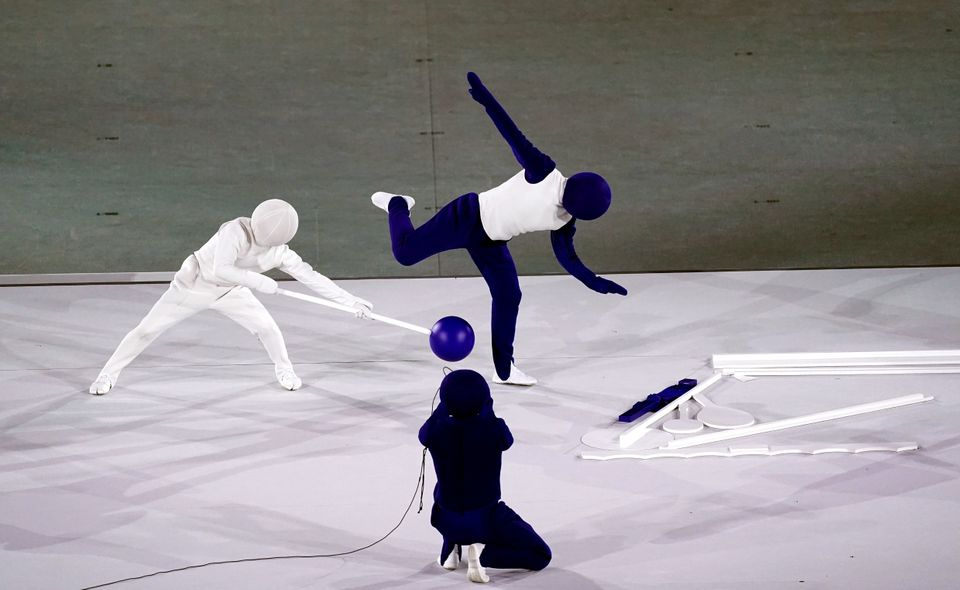 Performers during the opening ceremony of the Tokyo 2020 Olympic Games at the Olympic Stadium in Japan....