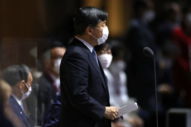 TOKYO, JAPAN - JULY 23: Emperor Naruhito, President of the Tokyo Olympic and Paralympic Games declares...