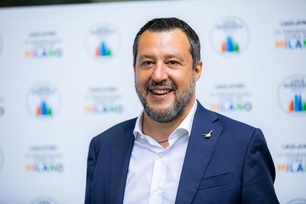 Matteo Salvini attends the press conference of the candidate mayor Luca Bernardo at Palazzo delle Stelline...