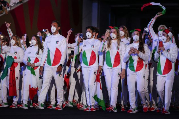 Italy's delegation enters the Olympic Stadium during Tokyo 2020 Olympic Games opening ceremony's parade...