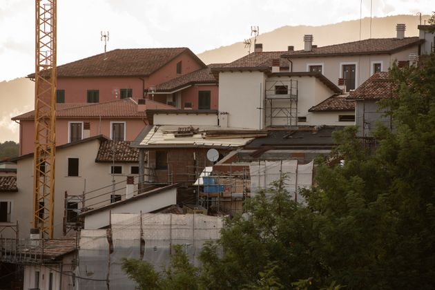 An active costruction site in L'Aquila, Italy, on October 5, 2020. On october 5 in Italy there is the...