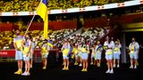 TOKYO, JAPAN - JULY 23: Flag bearers Olena Kostevych and Bogdan Nikishin of Team Ukraine lead their team out during the Opening Ceremony of the Tokyo 2020 Olympic Games at Olympic Stadium on July 23, 2021 in Tokyo, Japan. (Photo by Jamie Squire/Getty Images)
