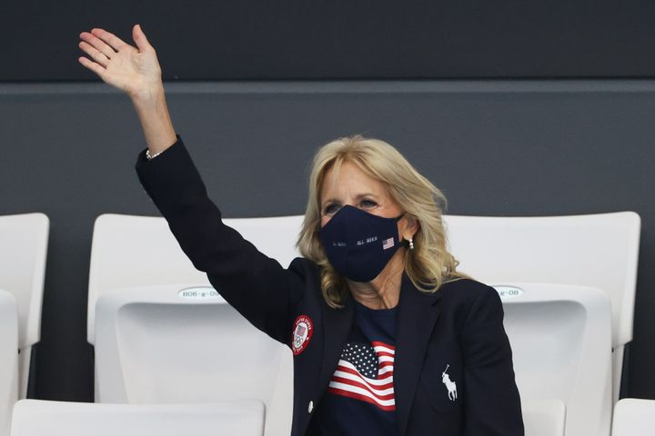 TOKYO, JAPAN - JULY 24: First Lady of the United States Jill Biden in attendance on day one of the Tokyo 2020 Olympic Games a