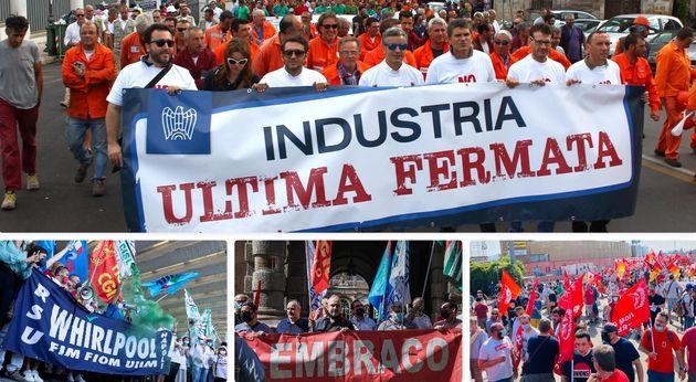 Proteste dei lavoratori dell'industria