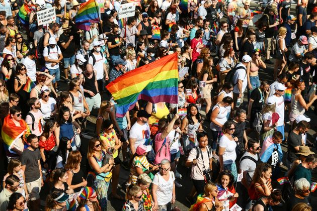 A participant waves a rainbow flag during the lesbian, gay, bisexual and transgender (LGBT) Pride Parade...