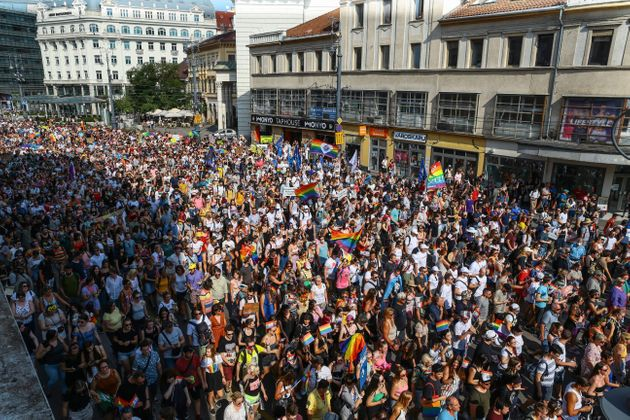 People take part in the lesbian, gay, bisexual and transgender (LGBT) Pride Parade in Budapest on July...