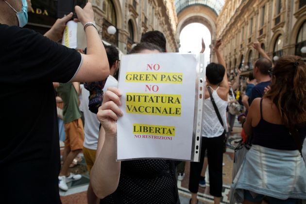 Demonstration against Green Pass in Milan, Italy, 24 july 2021. ANSA/MARCO OTTICO