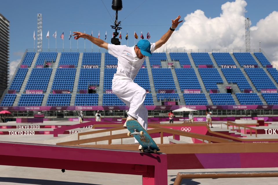 Vincent Milou of Team France competes at the Skateboarding Men's Street Prelims on day two of the Tokyo...