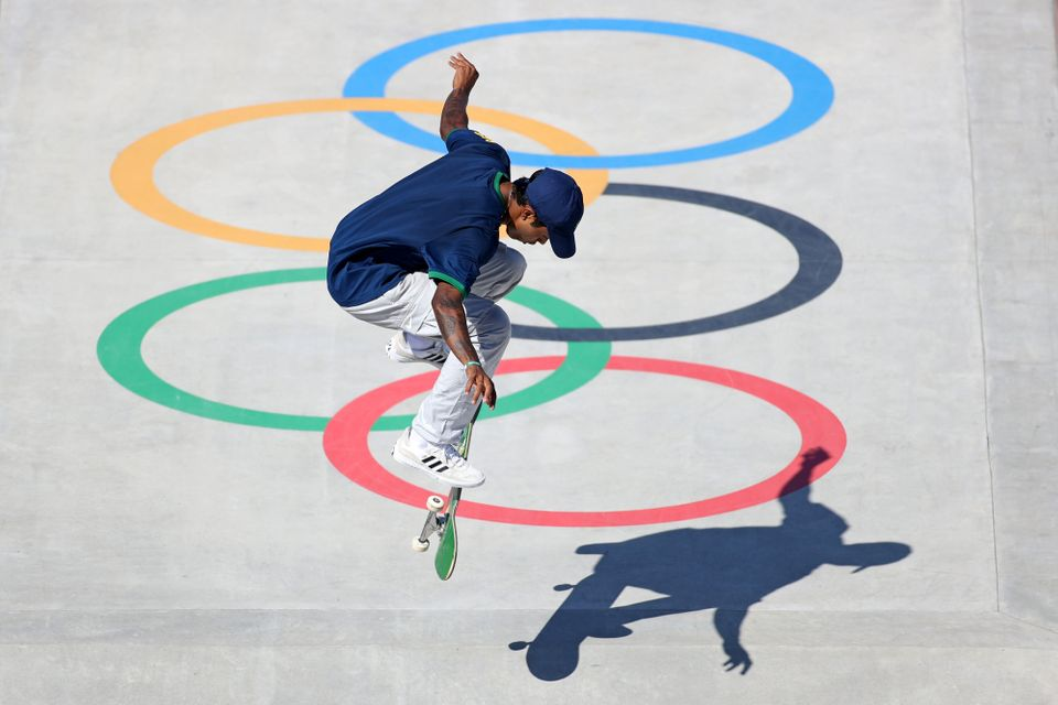 Gustavo Felipe of Team Brazil competes at the Skateboarding Men's Street Prelims Heat
