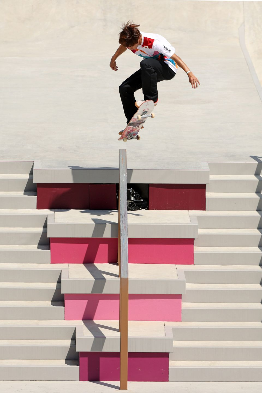 Yuto Horigome of Team Japan competes at the Skateboarding Men's Street