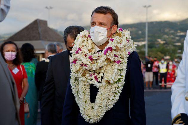 Emmanuel Macron arrivant à Tahiti le 24 juillet