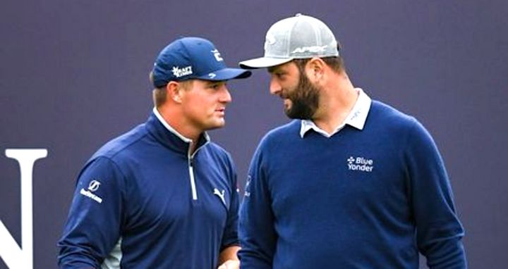 Bryson DeChambeau and Jon Rahm, pictured at the recent British Open, are out of the Olympics.