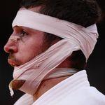 El judoca Alberto Gaitero acaba en este estado físico tras caer eliminado en los