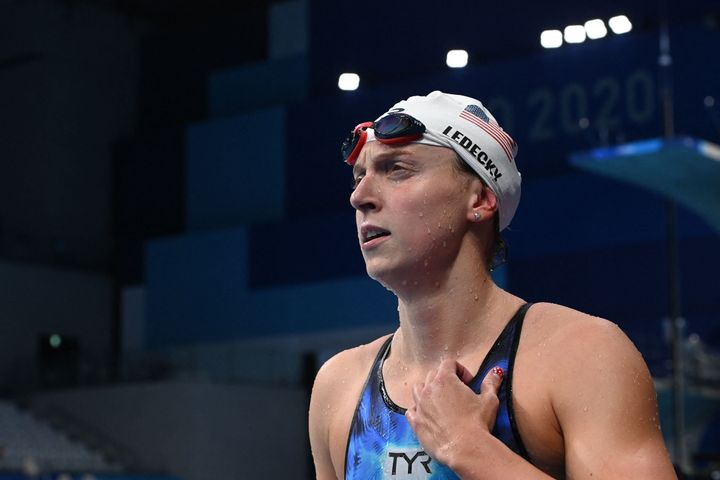 Katie Ledecky puts on her game face after winning her 400 meter heat.