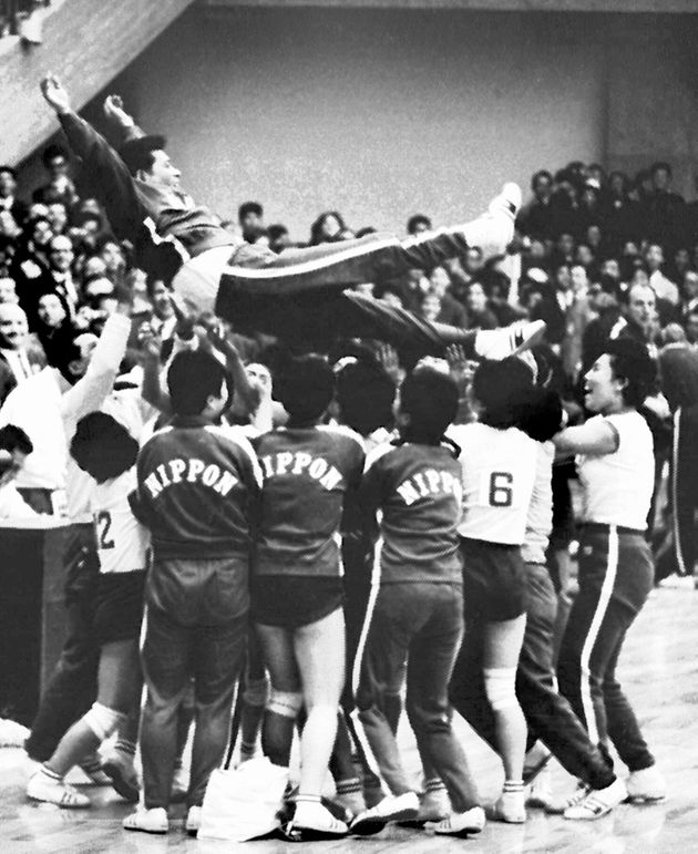 TOKYO - OCTOBER 23: (JAPANESE NEWSPAPERS OUT) Japan Women's team head coach Hirofumi Daimatsu is thrown into the air after winning gold medal during the final match between Japan and the Soviet Union at Komazawa Gymnasium on October 23, 1964 in Tokyo, Japan. (Photo by Sankei Archive via Getty Images)