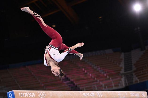 Pauline Schaefer-Betz, membre de l'équipe de gymnastique allemande ce dimanche 25 juillet aux JO de Tokyo...