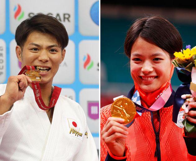 La combo dei fratelli giapponesi Hifumi (S) e Uta Abe, entrambi vincitori di un oro nel judo alle Olimpiadi di Tokyo 2020 nello stesso giorno, rispettivamente nella categoria dei 66 kg uomini e in quella dei 52 kg donne, 25 luglio 2021. I due, originari di Kobe, in passato erano già stati campioni del mondo, ma in giorni diversi. ANSA
