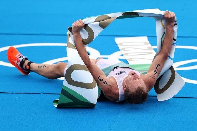El noruego Kristian Blummenfelt, tras ganar el oro en triatlón