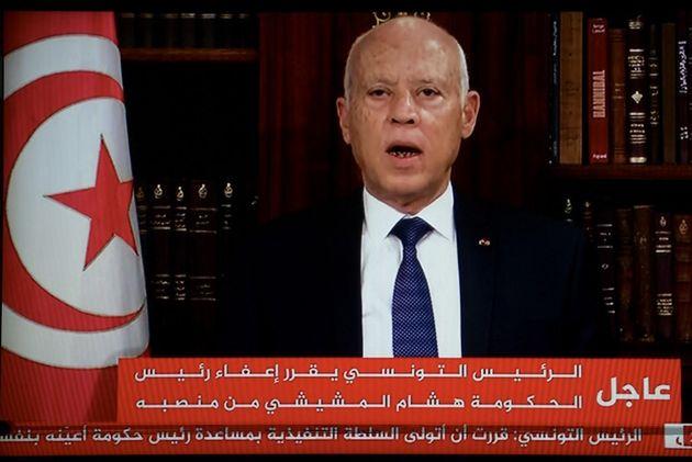 Kais Saied, le président tunisien, a annoncé le gel du Parlement sur fond de crise sociale et sanitaire.(Photo...