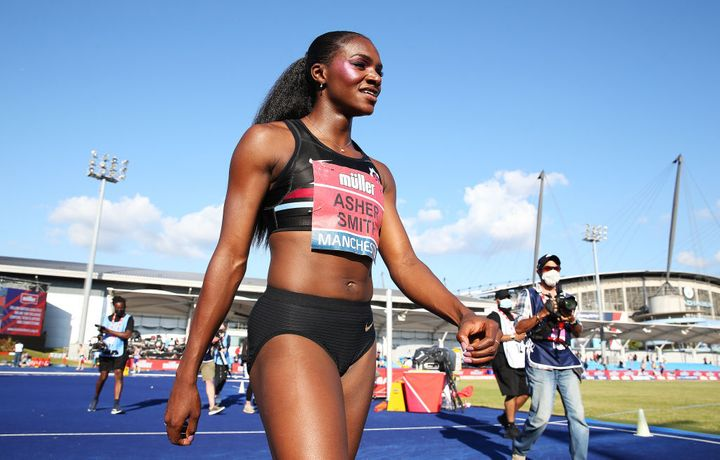 Dina Asher-Smith after winning the Women's 100m Final at the British Athletics Championships in June.