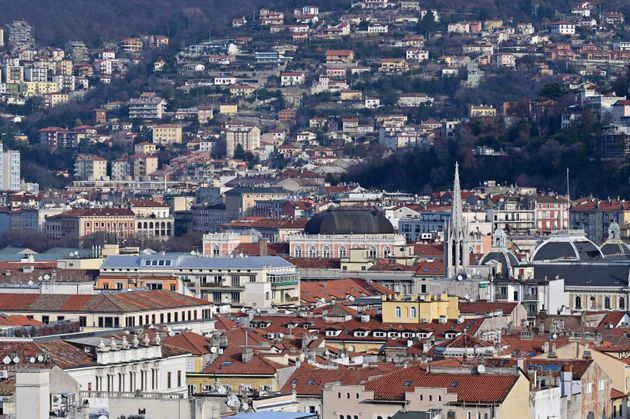 A picture taken on January 19, 2021 shows an overview of the heights of the northern city of Trieste...