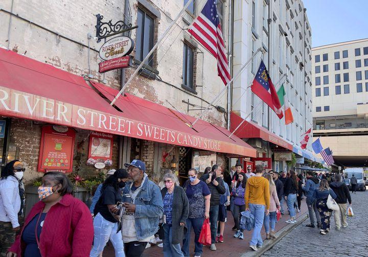 Tourists enjoy downtown Savannah, Georgia on March 3 amid the COVID-19 pandemic.Savannah, which was the first Georgia c