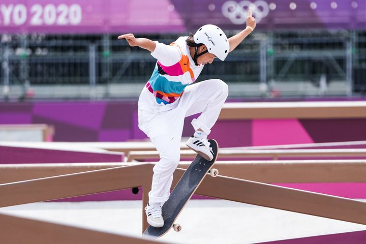 Momiji Nishiya competes during the women's street skateboarding final on day three of the Tokyo 2020 Olympic Games.
