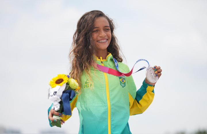 Rayssa Leal of Brazil at Monday's awards ceremony at the Tokyo Olympics. The 13-year-old earned a silver medal in the women's