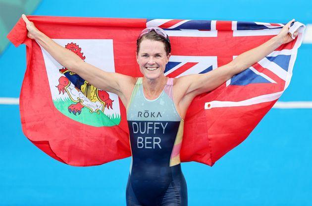 Flora Duffy tras ganar el oro en triatlón