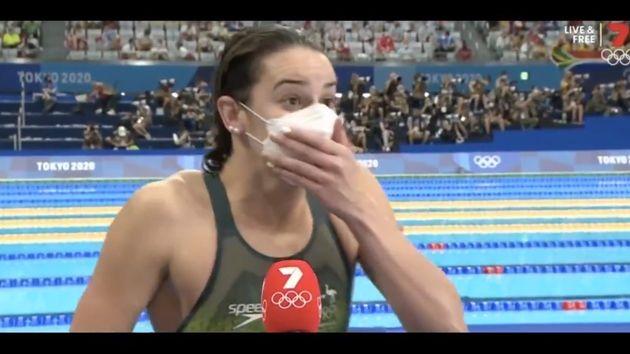 La reacción de la nadadora Kaylee