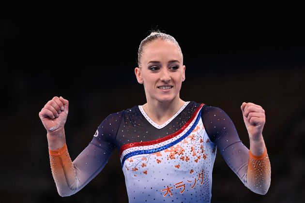 Netherlands' Lieke Wevers celebrates after competing in the artistic gymnastics balance beam event of...