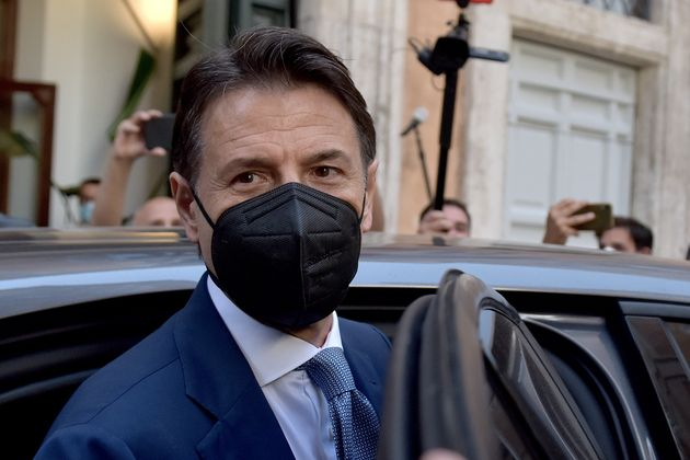 ROME, ITALY - JUNE 28: Former Prime Minister Giuseppe Conte leaves the press conference at the Tempio di Adriano on the future of the Five Star Movement, his leadership project and the problems with sponsor Beppe Grillo on June 28, 2021 in Rome, Italy. (Photo by Simona Granati - Corbis/Getty Images)