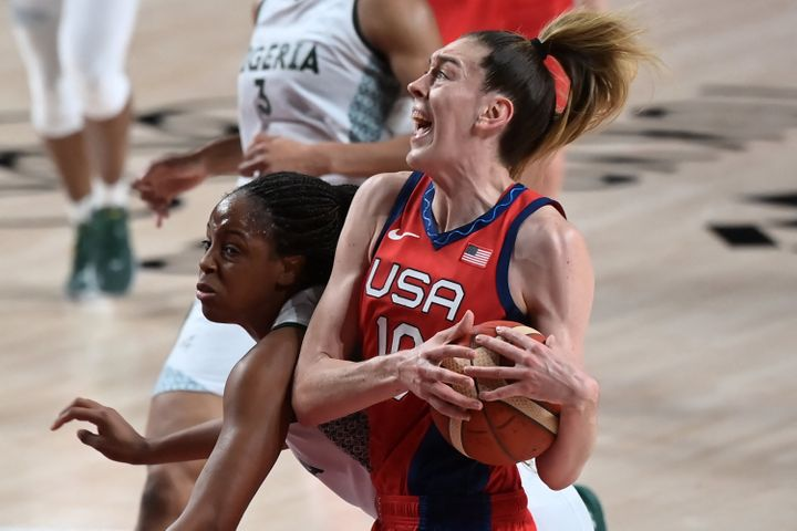 USA's Breanna Stewart grabs the ball in the Americans' first-round victory over Nigeria.