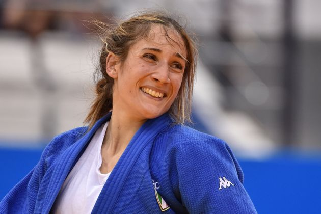 Italy's Maria Centracchio reacts during the women's under 63 kg category bronze medal bout against Poland's...
