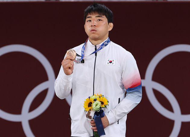 남자 73㎏급 동메달 결정전에서 동메달을 획득한 안창림