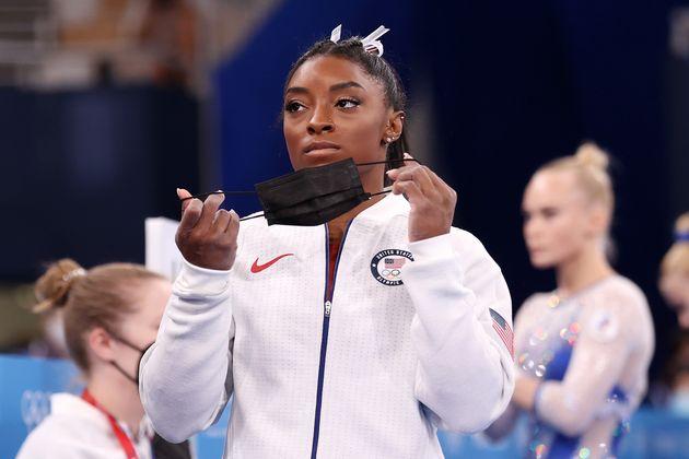 La gimnasta estadounidense Simone Biles, durante los Juegos Olímpicos de Tokio
