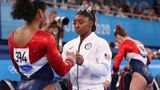 TOKYO, JAPAN - JULY 27: Simone Biles talks with Jordan Chiles of Team United States during the Women's Team Final on day four of the Tokyo 2020 Olympic Games at Ariake Gymnastics Centre on July 27, 2021 in Tokyo, Japan. (Photo by Laurence Griffiths/Getty Images)