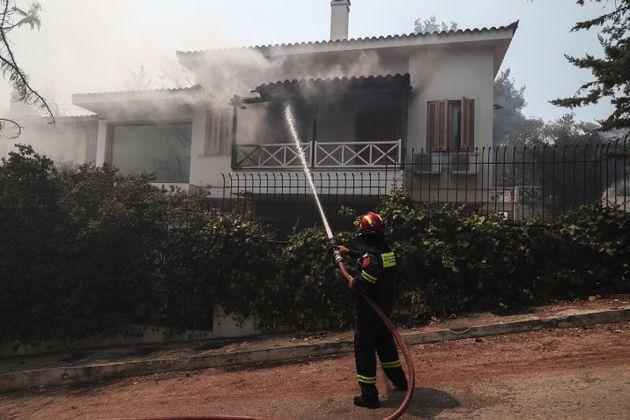 Μεγάλη πυρκαγιά στη Σταμάτα Αττικής, καίγονται