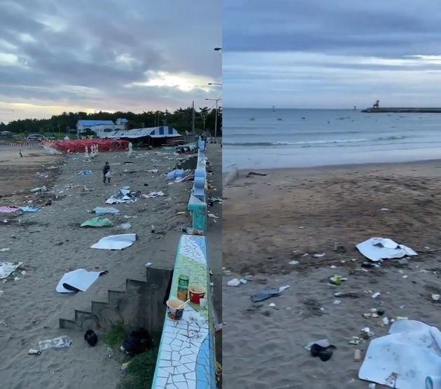 관광객들이 버린 쓰레기들로 가득한 이호테우