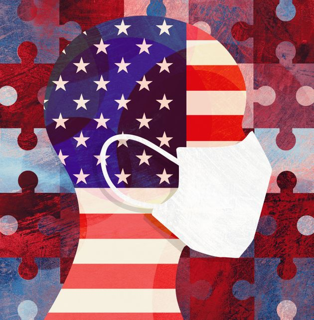 Graphic illustration of person wearing face mask with USA