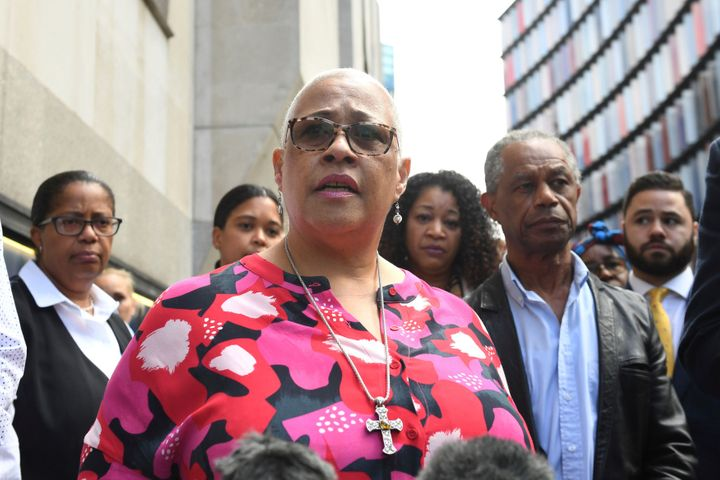 Mina Smallman, the mother of Bibaa Henry and Nichole Smallman outside the Old Bailey, in London on Tuesday July 6, 2021.