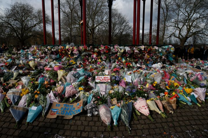 Flowers and candles placed on Clapham Common for Sarah Everard on March 14, 2021.