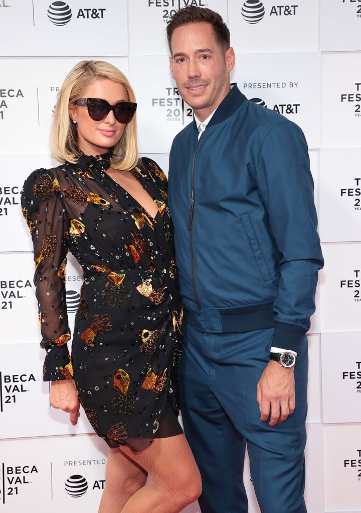 """Paris Hilton and Carter Reum attend the """"This Is Paris"""" premiere during the 2021 Tribeca Festival in June."""