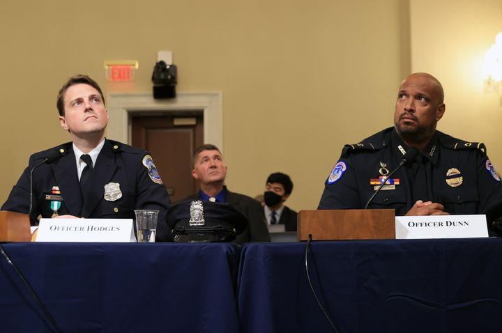 D.C. Metropolitan Police officer Daniel Hodges (left) and U.S. Capitol Police Officer Harry Dunn testify before the House sel
