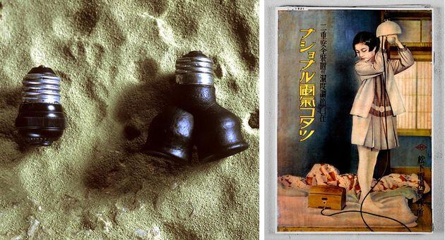 左写真:アタッチメントプラグ 1918年(左)と2灯用クラスタ 1920年(右)。右写真:1931年の広告「2灯用クラスタ」と「電気コタツ」。電灯と他の電化製品を同時使用できる、当時としては画期的な製品