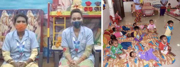 左写真:取材に答えてくれた、インド工場のマヌさん(左)とプリヤンカさん(右)。右写真:社内託児所の様子