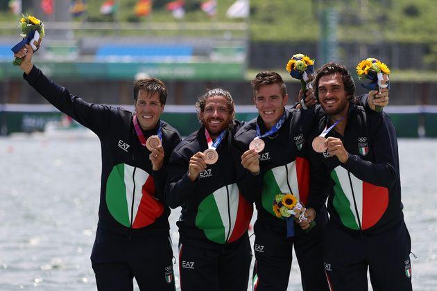 TOKYO, JAPAN - JULY 28: Bronze medalists Matteo Castaldo, Marco di Costanzo, Matteo Lodo and Giuseppe...